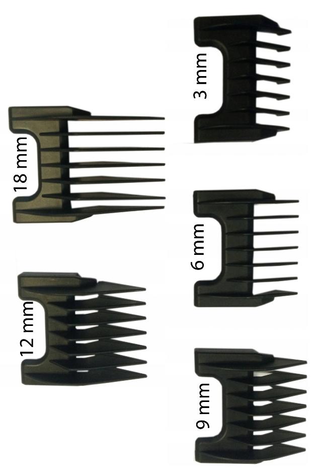 Zestaw 5 nasadek dystansowych do maszynki Moser, Ermila, Wahl.